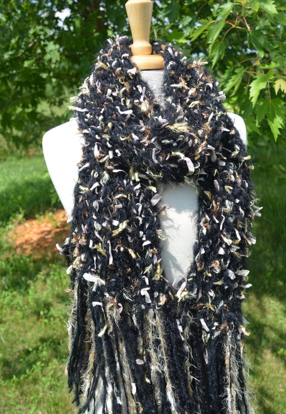 Hand Knit Art Scarf - Luxuriously Soft, Wide, Fuzzy Knit Scarf with Flag Ribbon and super soft base fibers by rockpaperscissorsetc