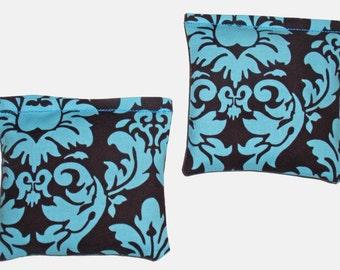 Handmade Lavender Sachets - Eco Friendly Dryer Sheets, Car Air Fresheners, Lavender Drawer Sachets, Set of 2 Turquoise Blue & Black Sachets