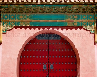 Boho Wall Decor, Chinese Door Photography, Red Door Art, Asian Art,Red & Pink Door Print,Asian Architecture Photography of China,Asian Decor