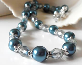Teal Bridesmaid Necklace Czech Glass and Pearl Strand in Antiqued Silver Bridesmaid Necklaces Teal Wedding Jewelry for Bridal Party