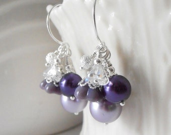 Purple Bridesmaid Earrings Pearl Cluster Earrings Dark Purple Pearl Wedding Jewelry Wisteria  Bridesmaid Jewelry Gift Lapis and Lavender