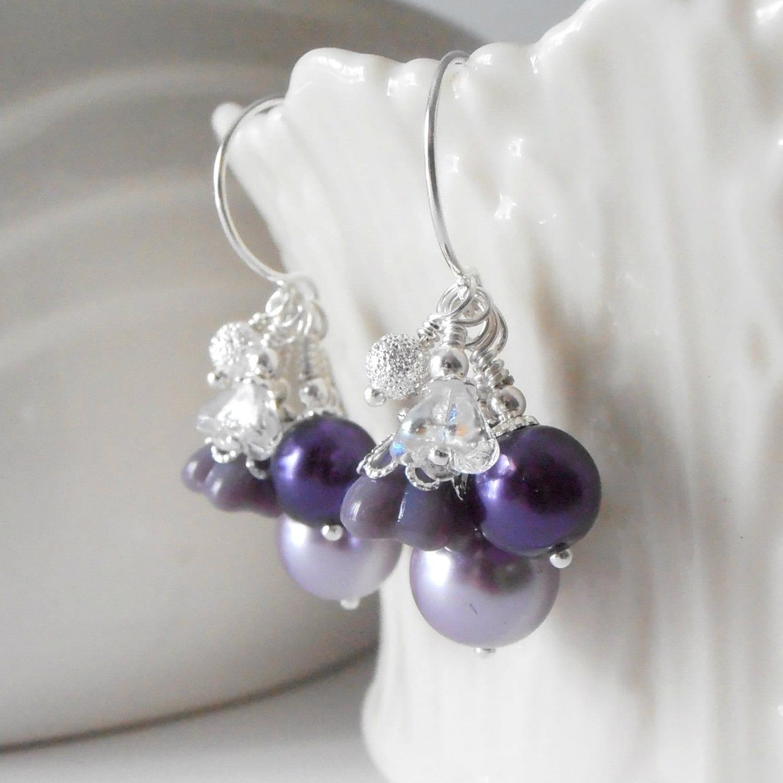 purple bridesmaid earrings pearl cluster earrings purple