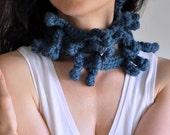 Freeform crochet modern fashion accessory lariat neckwear neckwrap Wearable Fiber Art Fiber Jewelry - Porcupine Tree - Choose Your Color