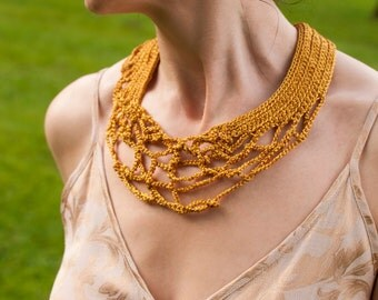 Freeform Crochet Necklace Collar Neckwear Neckpiece Fiber Jewelry Wearable Fiber Art OOAK modern contemporary - Golden Dreams Ready To Ship