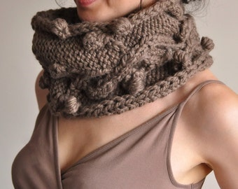 2 in 1 COMBO Hand knit cable chunky cowl texure neckwarmer knitted scarf wrap and long legwarmers winter SET in taupe or choose your color