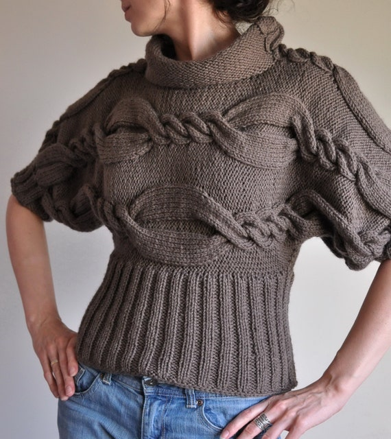 Knitting Designs Sweaters : Hand knit cable sweater designer unique t kimono
