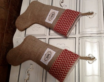 Burlap Stockings   Mr and Mrs  with Red Burlap Chevron Cuff