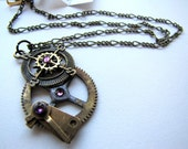 "Steampunk No. 204 Compass Necklace with 18"" chain and Purple Swarovski Crystals"