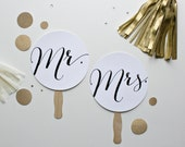 Wedding Photo Prop. Photobooth Prop. Paddle Sign. Mr and Mrs Wedding Signs - Black and White