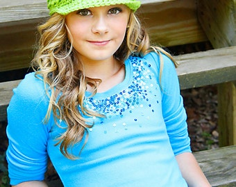 Adult Newsboy Hat, Womens Crochet Hat, Wide Brimmed Cap, Teen Ladies, Lime Green - MADE TO ORDER