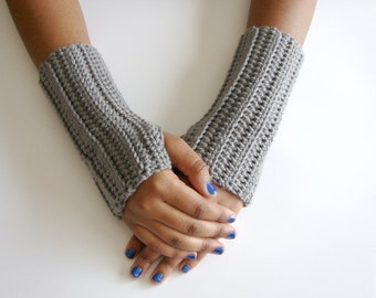Fingerless Glove, Arm Warmer, Texting Gloves, Heather Gray, MADE TO ORDER