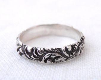 Oxidized Silver Repousee Botanical Wedding Band by Chasing Jewelry Made to Order
