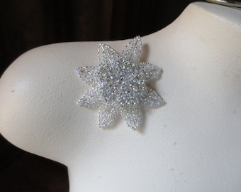 Rhinestone Applique Flower  in Silver for Bridal Headpieces or Sashes, Costume or Jewelry Design  RA  05
