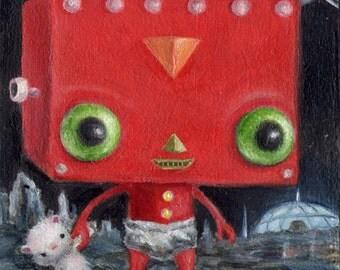 Baby Robot Art Retro Sci Fi, Big Eye Art, Childrens Art, Pop Surrealism, Whimsical Art Illustration Print, Nursery DecorWibbley World