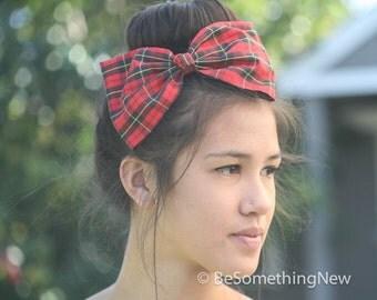 Red Plaid Hair Bow in Vintage Fabric, Women Hair Accessory, School Girl Hair Bow, Christmas Plaid Hair Bow, Holiday Fashion
