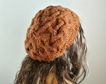 pumpkin knitted hat BiKay's hand knitted hat slouchy beret baggy beanie Winter Accessories