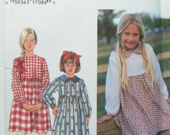 Simplicity 9739 Girl's Dress Pattern, SALE Prairie Dress with Full Skirt and Peter Pan Collar, Toddler Dress, School Dress Size 3 -6 and 5-8