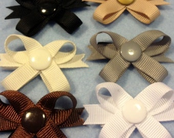 Solid Neutral Color Snap N Go Dog Hair Bows
