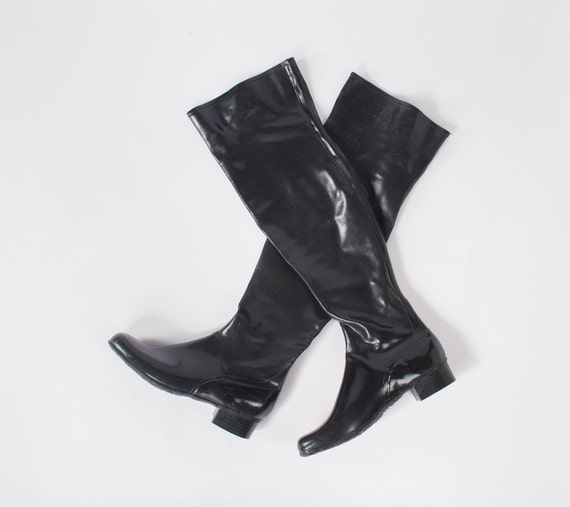 Vintage Black Rubber Tall Boots: 60's Over The Knee Boots