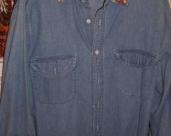 Vintage Denim Shirt Embroydery xxl
