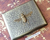 Brass Bee Cigarette Case Steampunk Cigarette Case Antiqued Brass Bee Case Vintage Inspired Victorian Smoking Accessories Large Size