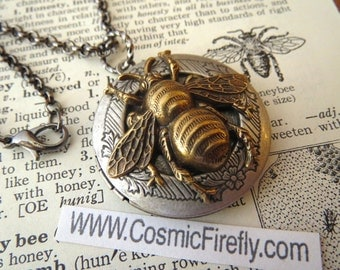 Bee Locket Necklace Vintage Style Gothic Victorian Steampunk Style Round Locket Silver Locket & Brass Bee Necklace Steampunk Necklace