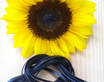 Glossy Nylon: Black 3mm x 10ft *Flat-Braided Glossy Satin Nylon Cord* / DIY Cord, Stringing, Jewelry Making, Craft Supplies