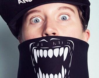 Airbrushed Vampire Teeth Roller Derby Bandana Mask
