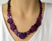 Royal purple button necklace.