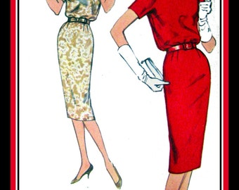 Vintage 1958 -ROLLED COLLAR Wiggle Dress-Sewing Pattern-Two Styles- V Shaped Back Neckline- Kimono Sleeves- Bow Belt- Uncut- Size 12- Rare