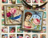 TIME FOR ROMANCE - Digital Collage Sheet 1x1 inch size images printable download for glass and resin pendants, magnets, scrapbook