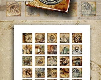 1x1 inch and 7/8x7/8 inch size steampank images BEYOND TIME Digital Collage Sheet print-it-yourself Printable Download for pendants, magnets