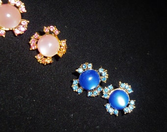 Vintage Pink Earrings Blue Earrings Flower Rhinestone screw back Molded Plastic Earrings 1960's Moonstone