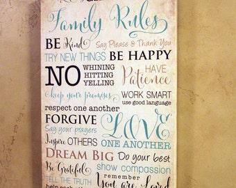 12x18 Custom Family Rules Canvas Gallery Wrap