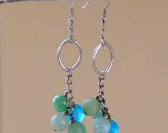 SALE. Jade Silver Earrings. Ocean Blue - Green Jade Earrings. Ocean Waves Sterling Silver Gemstone Jade Earrings. Summer Jewelry.