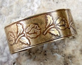 Etched Brass Cuff Roses