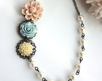 Soft Nude Pink, Dusty Blue, Cream Flower Chrysanthemum, Cream Pearls, Flower Necklace. Bridesmaid Gifts. Fall Wedding. Rustic Theme Wedding