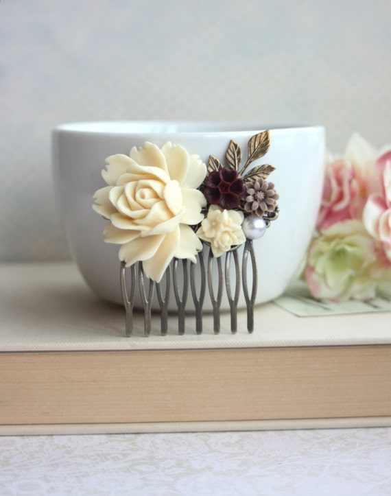Bridal Comb, Ivory Rose Comb, Maroon Red, Brown, Pearl, Brass Leaf Wedding Comb. Bridesmaids Comb, Shabby Rustic Chic Country Nature Wedding