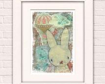 Art for Kids, Art for Girls, Mixed Media Painting, Art For Children, Wall Art  For Nursery, Kawaii Art - 'Barnabe' by Emma Talbot