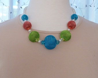 Necklace of colorful mesh balls, pearls and crystal - aqua, lime, coral and white 20""