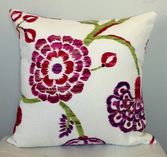 White And Plum Pillow Cover Decorative Floral Pillow