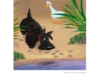 Scottie and the duck digital print