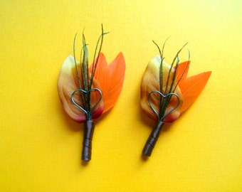 Rustic wedding lapel pins fall wedding boutineers orange wedding flowers men lapel pins groomsmen flowers fall colors fall boutonnieres