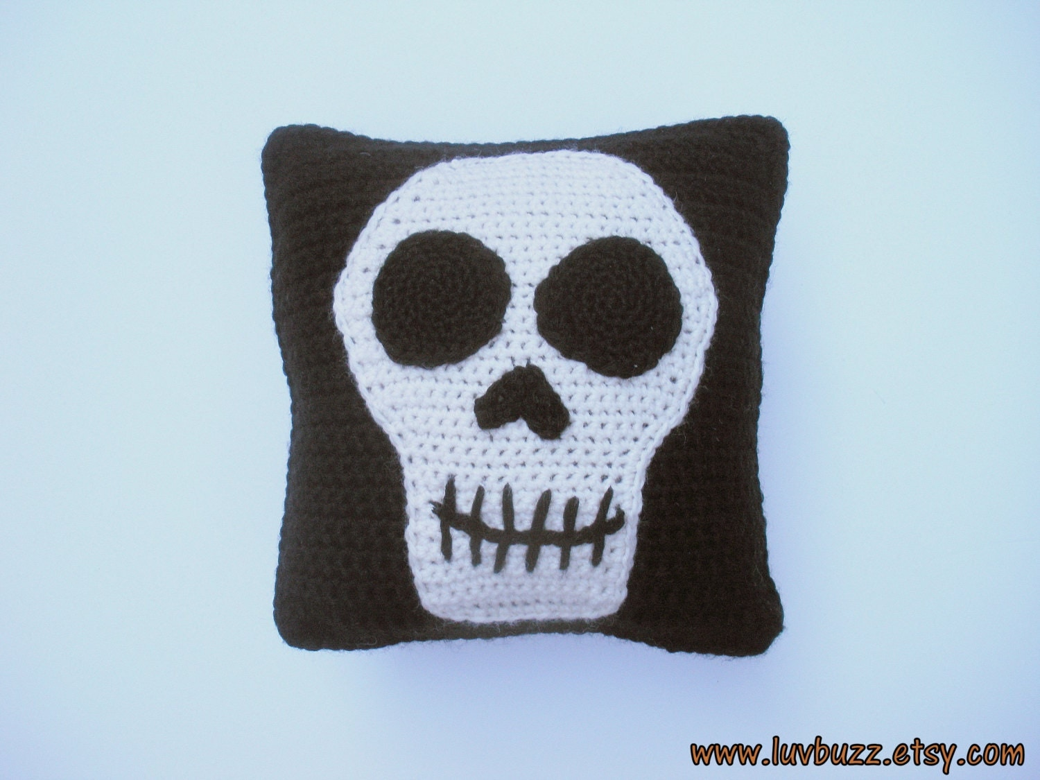 Small Black Skull Pillow decorative crochet throw pillow with