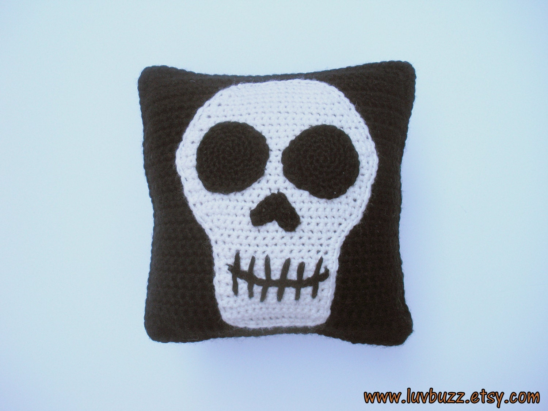 Small Black Decorative Pillow : Small Black Skull Pillow decorative crochet throw pillow with