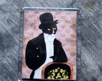 Tuxedo Cat Magnet, Mr Darcy Cat, Refrigerator Magnet, Regency Cat Art