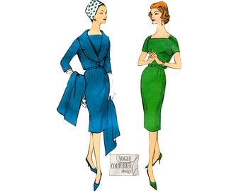 1950s Vogue Couturier Pattern 165, Womens Sheath Dress with Shawl Collar Jacket or Stole, Vintage Plus Size Sewing Pattern, Bust 42