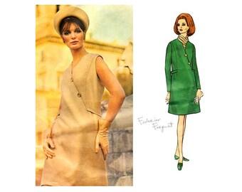 Vintage Vogue Couturier 1968 Asymmetrical Dress Pattern, Button Trim, Bust 36, Designer Federico Forquet, Classic 60s Couture