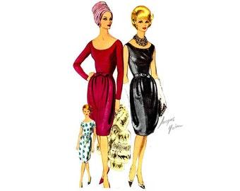 Jacques Heim Vogue Paris Original 1047, 1960s Dress Pattern, Tulip Skirt, Scoop Neck, Bust 34 Uncut, Label, Vintage Elegant Dress
