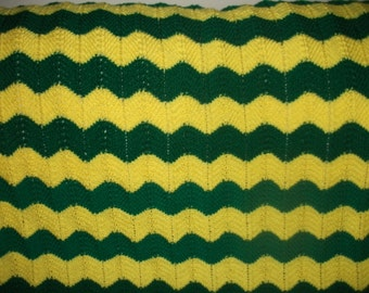 Paddy Green and Bright Yellow Chevron Afghan